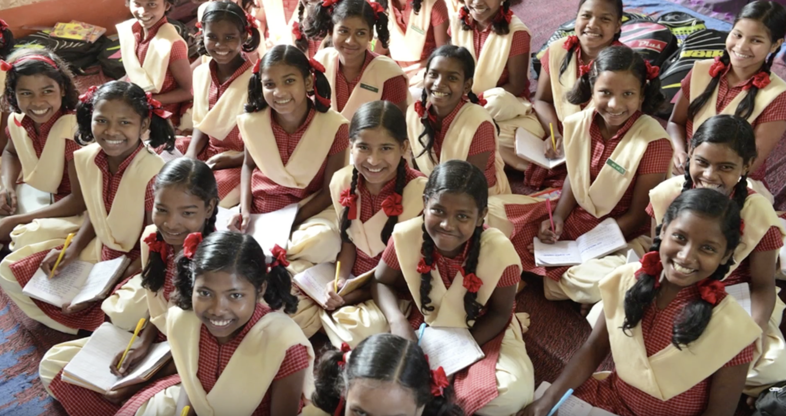 Happy schoolgirls in India