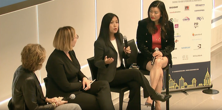 Four women on a panel discuss leadership challenges at Global Women in PR conference