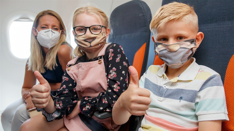 Kids fly on EasyJet with animal masks as part of travel PR campaign
