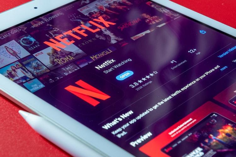 Netflix app on tablet screen